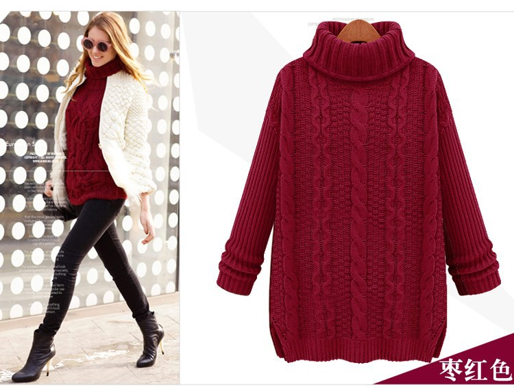 Women Vintage Turtleneck Cable Knit Fisherman Sweater Wool High ...