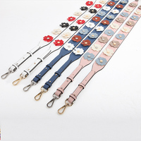 Genuine Leather Bag Strap Flowers Rivet Fashion Female Bag Shoulder Straps You Handbags Accessories With Gift