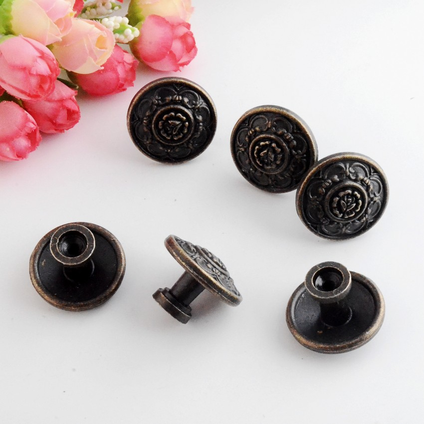 Free Shipping 4PCs Jewelry Wooden Box Pull Handle Dresser Drawer For Cabinet Door Round Antique Bronze 30x22mm J3147 200pcs 18 15mm hinge brass bronze color flat wholesale small hardware for wooden box case cabinet drawer door funiture fix