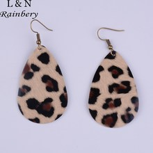 Rainbery Classic Leopard Statement Earrings Teardrop PU Leather Earrings Pendants Jewelry Fashion Dangle Earrings JE0638