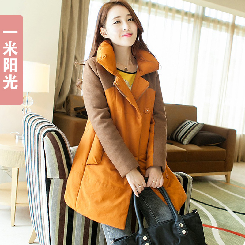ФОТО 2013 Korean female winter jacket oversized long thick lamb's wool coat women's slim cotton padded outwear free shipping H1183
