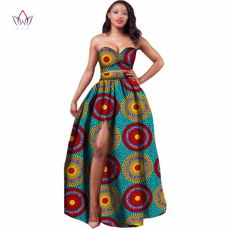 2019 Africké oblečení Dashiki pro ženy Bazin Riche Crop top a sukně Set 2 kusy Tradiční africké oblečení Plus velikost WY506