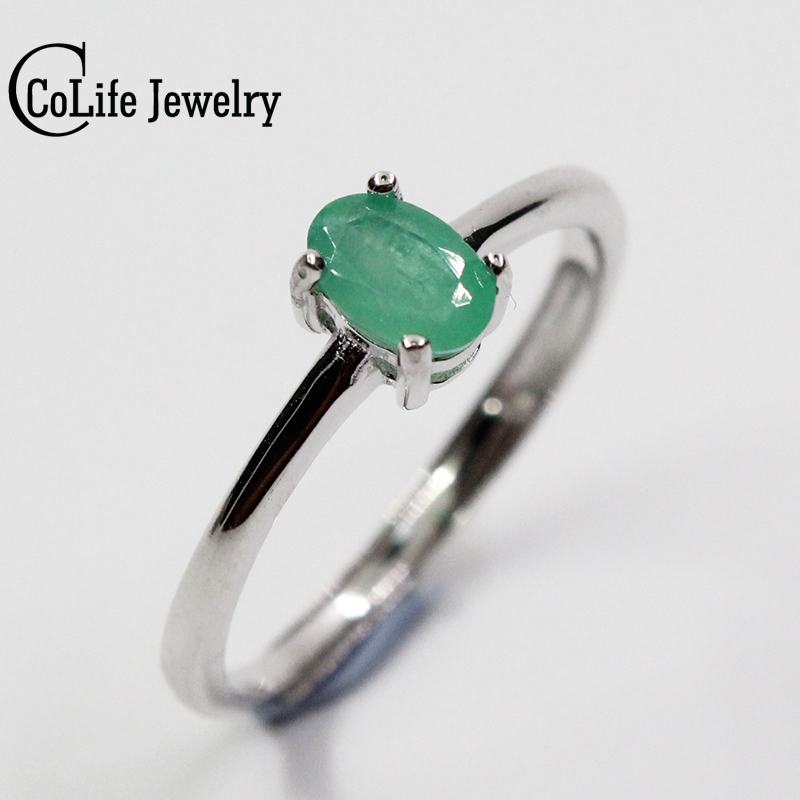 promotion natural emerald wedding ring for woman 04 ct 4mm6mm natural colombian emerald solid 925 silver emerald gemstone ring wholesale ring face wedding - Emerald Wedding Ring