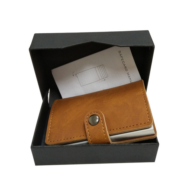 Slim secure wallet – RFID blocking card holder housing – Automatic card popup – Slymaoyi – Single housing – Brown