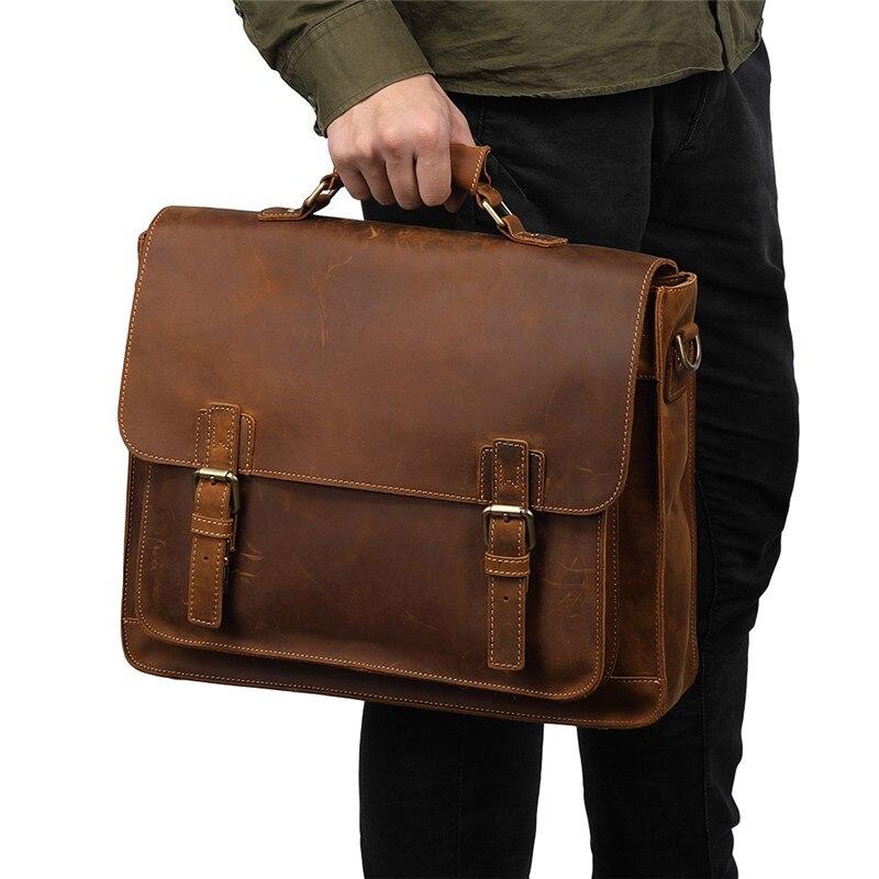 Nesitu Vintage Brown Blue Crazy Horse Genuine Leather Office Men Briefcase 14''/15.6'' Laptop Portfolio Male Messenger Bags M515