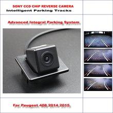 HD CCD SONY Rear Camera For Peugeot 408 2014 2015 Intelligent Parking Tracks Reverse Backup / NTSC RCA AUX 580 TV Lines liislee hd ccd sony rear camera for suzuki swift sport 2014 2016 intelligent parking tracks reverse backup ntsc rca aux