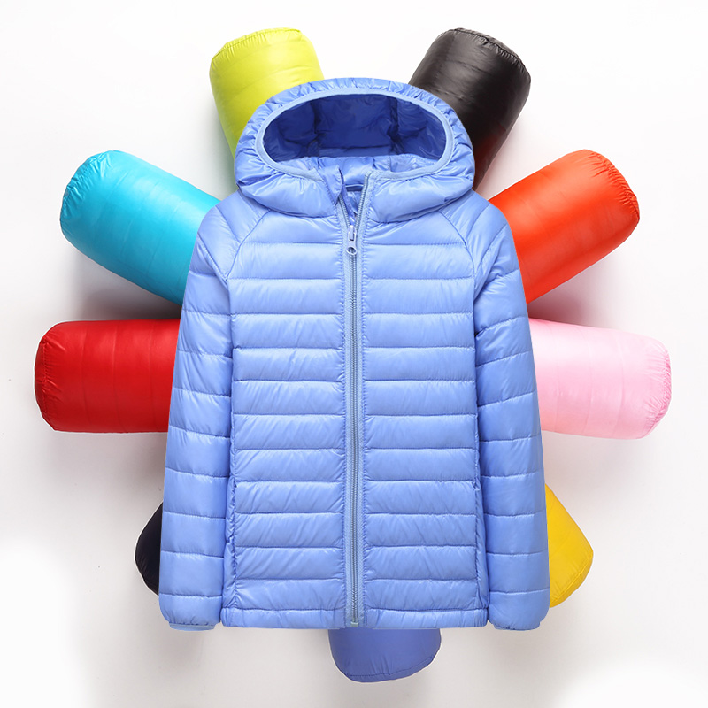 ФОТО 2-12Y Ultra light baby Girls boys down jacket Real 90% duck down coat winter warm children clothes with hooded and pocket