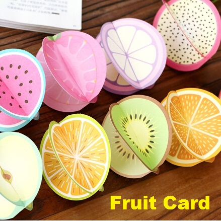 72packs/lot Students DIY Cards Sweet 3D Fruit design Greeting Card set with Envelope Gift Cards New Christmas Fashion card