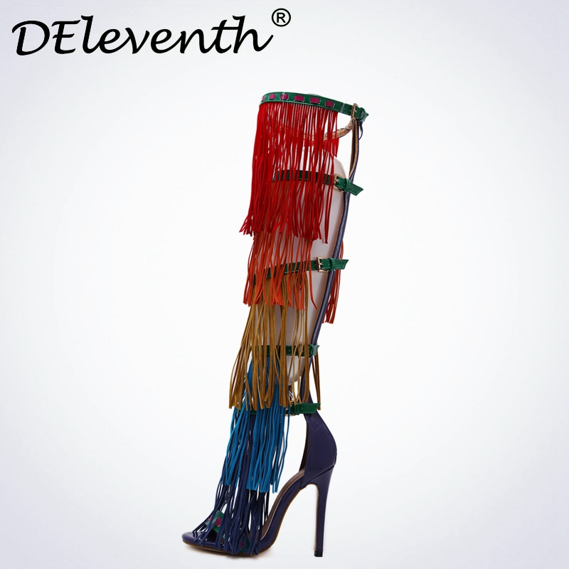 2017 Fashion Vitoria Show New Shoes Fringe Open Toe Buckle Strap Sandals High Heels Mix-colour Perfect Shoes Women Party Size40 цены онлайн