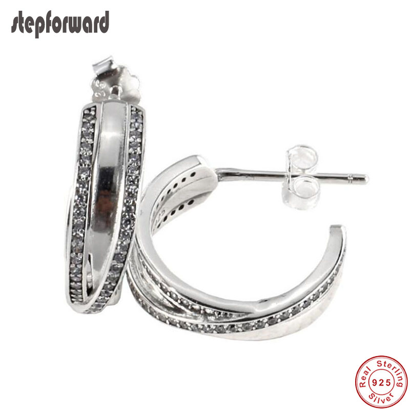 Delicated New Arrival Popular Semi Twist Circle 925 Sterling Silver Entwined Earring Hoops