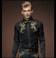 Fanzhuan Free Shipping New Fashion Casual 2015 Male Men S Spring Black Shirt Retro Shirts Korean