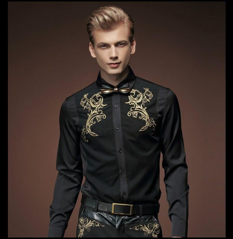 Fanzhuan 무료 배송 새로운 패션 캐주얼 2015 남성 봄의 검은 셔츠 복고풍 셔츠 한국어 자수 512005 성격