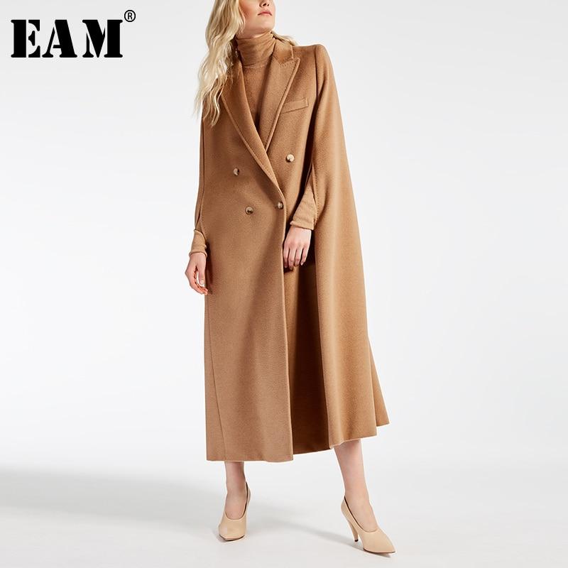 [EAM] 2019 New Spring Lapel Long Sleeve Camel Button Split Joint Loose Big Size Long Woolen Coat Women Parkas Fashion JW881