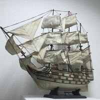 Больше 80 см деревянный корабль ремесел парусная лодка корабль Средиземноморский модель дерева парусник морских ручной работы украшения до