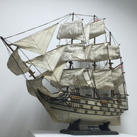Larger 80cm Wooden Ship Crafts Sailing Boat Ship Mediterranean Wood Sailboat Model Nautical Pure Manual Decoration Home Decor