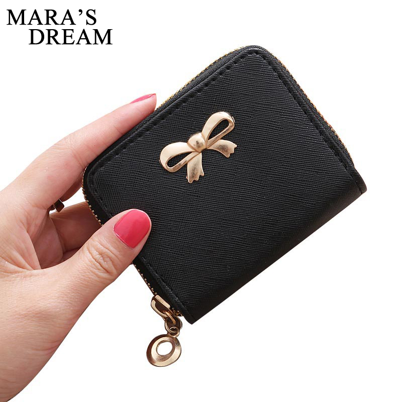 New Women/'s Bowknot Short Purse PU Leather Card Holder Coin Wallet Clutch