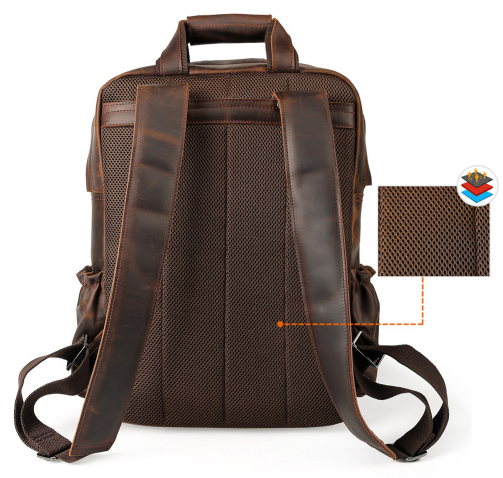 Для мужчин Weekender сумка большой enuine кожа рюкзаки повседневное стиль Carry On дорожные сумки мужской коричневый прочный рюкзак - 4