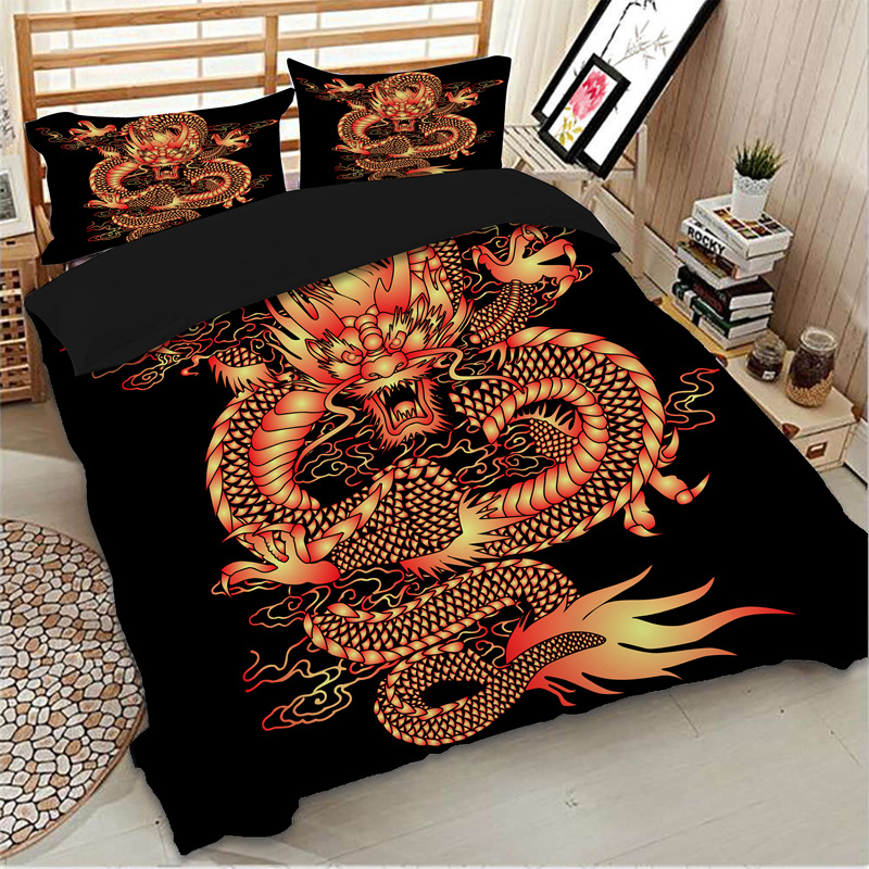 Wongs literie 3D Impression dragon housse de couette noir Ensemble de Literie lits jumeaux pleine reine king size draps