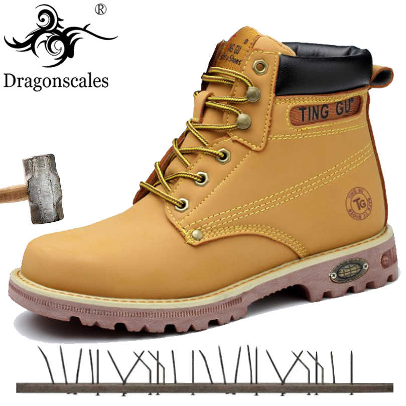 complimentary shipping dirt cheap enjoy cheap price 2019 Genuine Leather Men Steel Toe Cap Dr Martin Boots Autumn Winter Work  Safety Boots Solid Ankle Boots Punk Men Safety Shoes