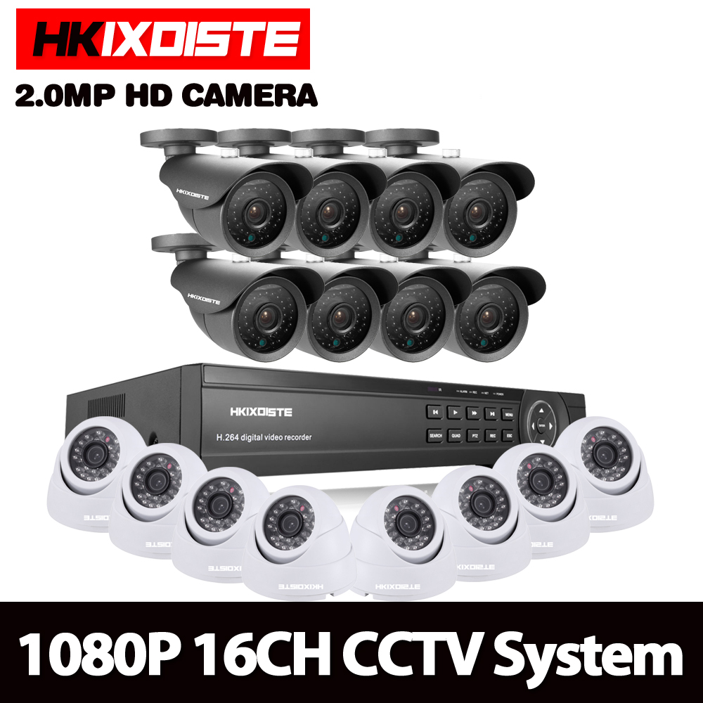 HKIXDISTE Home HD 16CH AHD 1080P DVR Kit CCTV Video System 8PCS 2.0MP Outdoor +8PCS Dome indoor Security Camera set 16 channel