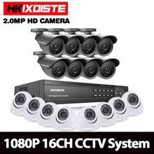 HKIXDISTE дома HD 16CH AHD 1080 P DVR комплект видеонаблюдения Видео система 8 шт. 2.0MP открытый + 8 шт. купол крытый камеры безопасности набор 16-канальный