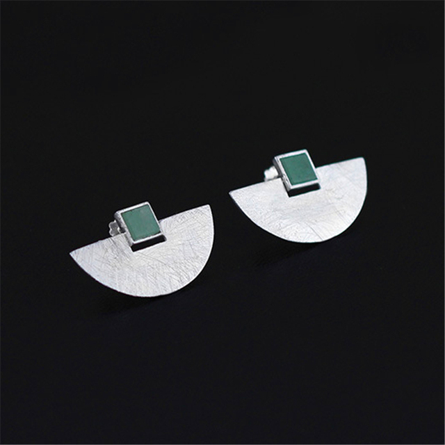 New Very Luxury And Simple Design Earring Natural Stone Shell Genuine 925 Sterling Silver Handmade Jewelry bijoux