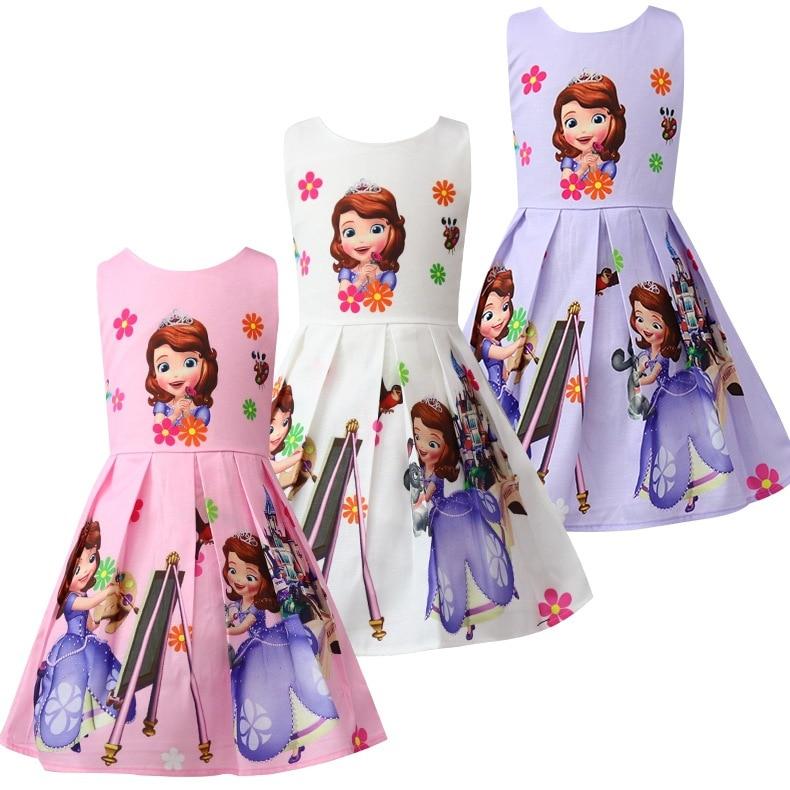 2018 New Summer Princess Sofia Printed Dresses For Girls Halloween Birthday Party Vestidos Dress Infant Children Flower Clothing