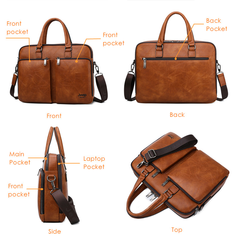 JEEP BULUO Large Capacity Leather Casual Shoulder Bag For Men Brand Man Briefcase Laptop Business Bags Handbags High end New in Briefcases from Luggage Bags