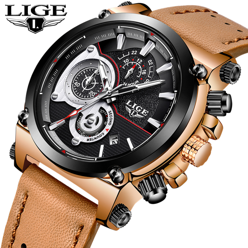 LIGE Fashion Mens Watches Top Brand Luxury Quartz Watch Men Waterproof Casual Leather Military Sports Watches Relogio Masculino weide top brand watches men quartz lcd digital fashion military casual sports watch luxury brand relogio outdoor wristwatches