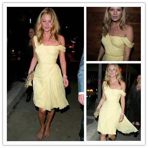 3c3733a6cad Kate Moss Vintage Short Yellow Chiffon Cocktail Celebrity Dress For Prom  celebrity red carpet dress