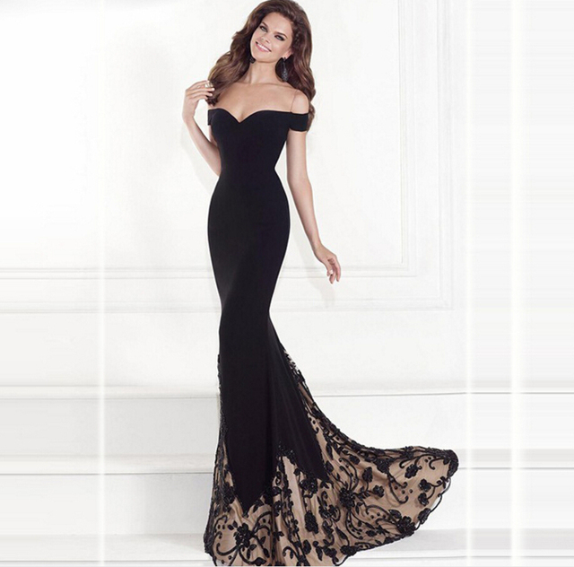 US $19.19 36% OFF|S XL Plus Size Dress Fashion Runway Maxi Dress strapless,  off the shoulder gown Dress hot stamping dresses Black Long Dress-in ...