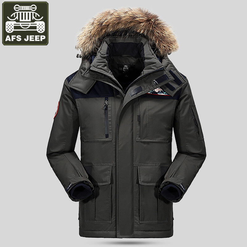 AFS JEEP Brand Winter Jacket Men 80% White Duck Down Jacket Coat Men Thick Warm Down Parka Men Windbreaker Plus Size M-4XL цены онлайн