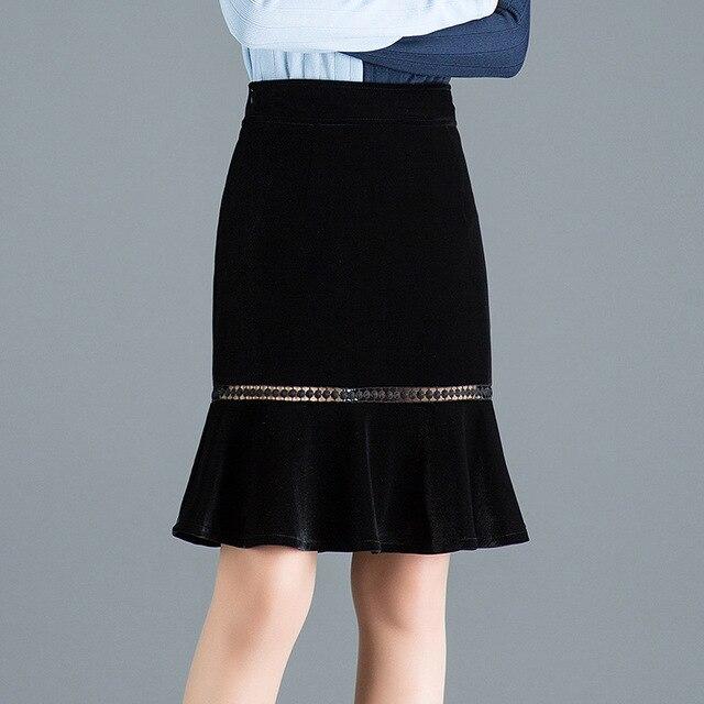 86f388e9f6 2019 Spring New pleuche Ruffled pencil Skirt women High Waist lace splicing  Pierced Sexy Mini Skirt plus size black skirt 4XL