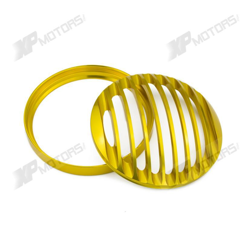 Gold 5.75 Headlights Grill/Bezel Cover For Harley-Davidson XL Sportsters 2004 2005 2006 2007 2008 2009 2010 2011 2012 2013 2014 car rear trunk security shield shade cargo cover for nissan qashqai 2008 2009 2010 2011 2012 2013 black beige