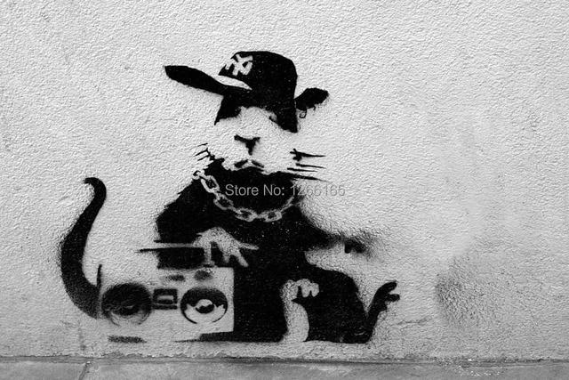 Banksy Graffiti Rap Rat Print On Canvas Abstract Street Art Wallpaper Home Decor Collectibles 24x36 Inch