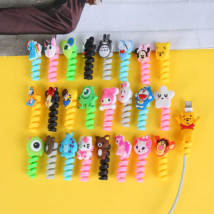 20pcs Cartoon Spiral Cable Protector Data Line Cord Protector Protective Case Cable Winder Cover For iPhone USB Charger Cable