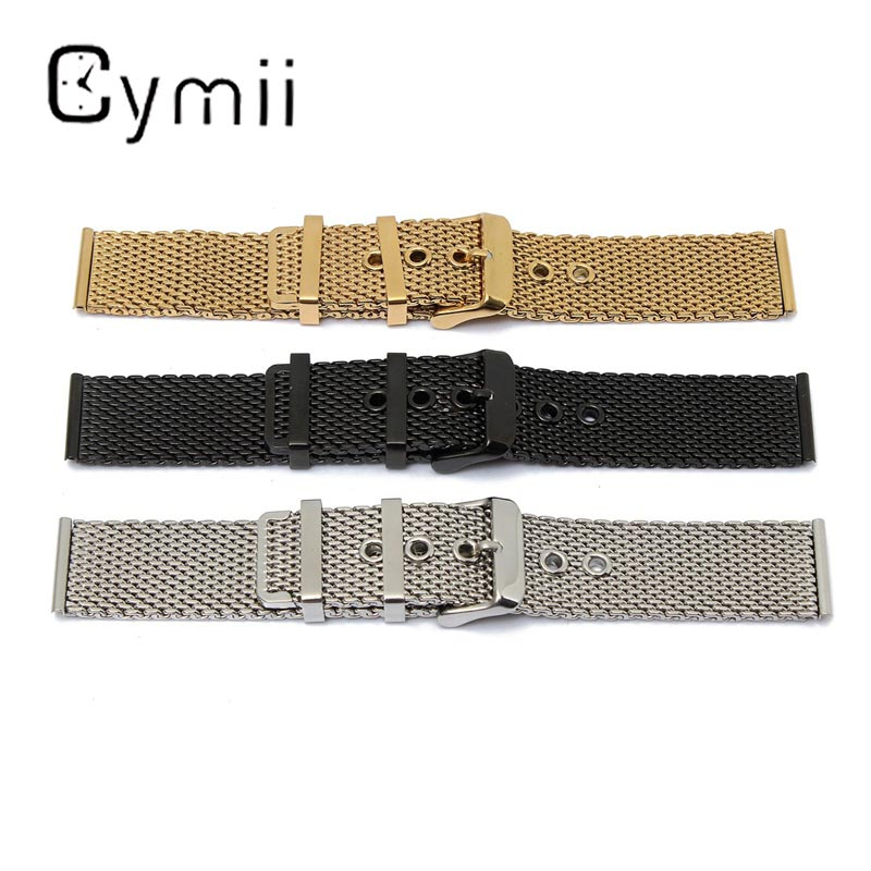 1PC Hot Sale 22mm Stainless Steel Watchbands Mesh Buckle Straight End Men Wrist Watch Strap Metal Watch Bracelets Repair Tool