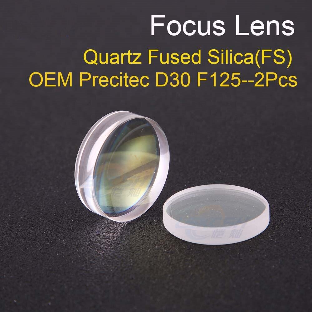 Lentille de mise au point sphérique D30 F125 2 pièces Precitec HPSSL OEM silice fondue au Quartz pour la fibre laser tête de précision en gros
