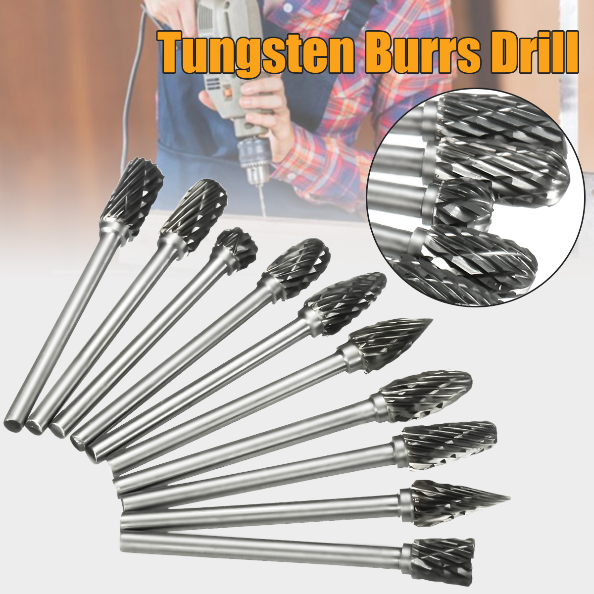 1pcs 10 Model Tungsten Steel Solid Carbide Burrs Rotary Files Diamond Burrs PCB CNC Drill Bit Tool 6mm Hand Tools