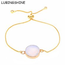 LUBINGSHINE Opal Stone Bracelet Round/Oval Natural Stone Druzy Adjustable Chain Bracelets Bangles For Women Gold Color Jewelry(China)