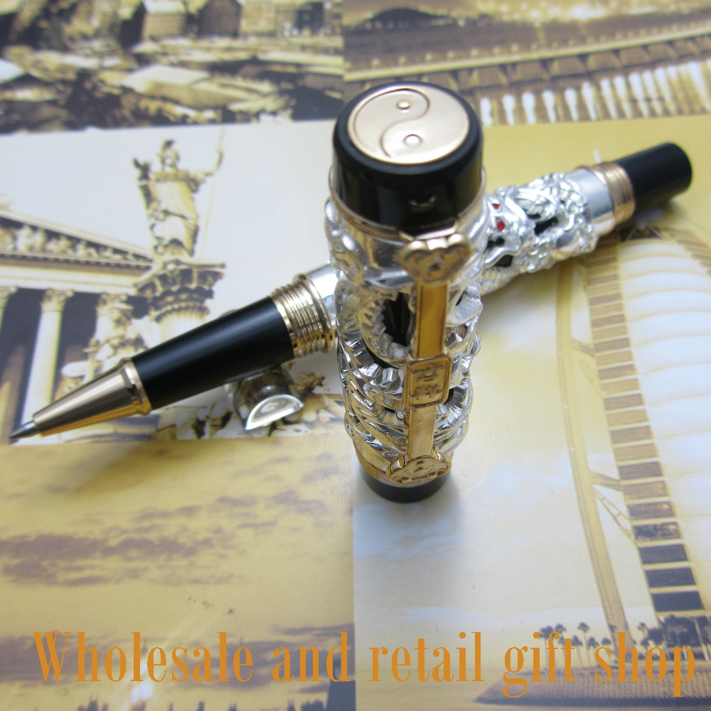Jinhao Dragon Phoenix Heavy Silver Chinese Classical Luck Clip roller Pen jinhao a200 chinese double dragons playing with the pearl beautiful advanced roller ball pen