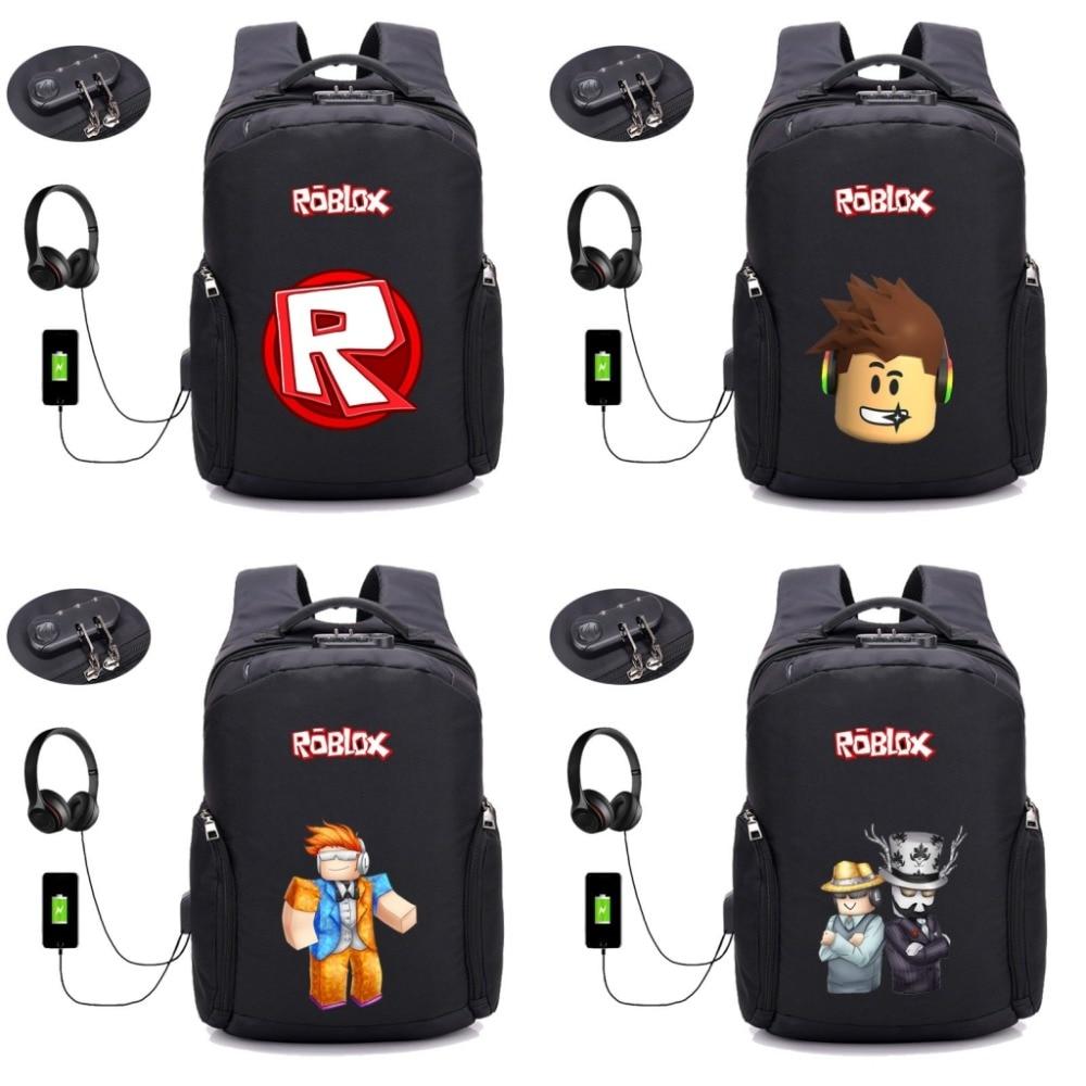 2019 NEW game ROBLOX backpack multifunction USB charging bag Children boys girl School Bags teenagers travel Bag 10 style new style school bags for boys