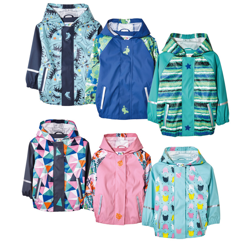 2018 Spring Children Outerwear Raincoat Poncho Boys PU Leather Waterproof Windproof Breathable Jackets Coat for Girls waterproof raincoat kids children boys long cute poncho lluvia mujer girls raincoat impermeable backpack rain cover ddg48y