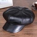 Мужская Мода Восьмиугольная Шляпа Подлинной Овчины Бейсболки Зимние Мужчин И Женщин Случайные На Открытом Воздухе Cap Для Пар Взрослых