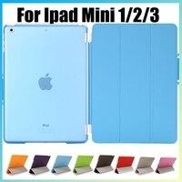 Hot smart cover voor apple ipad mini 1 2 3 met magnetische staaf stand pu leather case voor ipad mini 1 mini 2 3 met retina Display