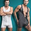 2015 nova arrivel homens Singlet Bodywear Bodysuit shapers quentes Dos Homens sexy masculino botão Sleepwear Pijama de Algodão