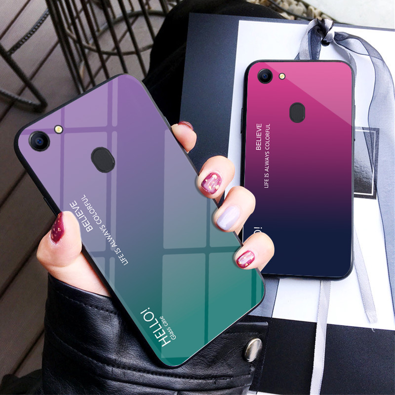 low priced c6e58 05dfc For OPPO F5 Case Luxury Hard Tempered Glass Fashion Gradient Protective  Back Cover case For oppo f5 A73 full cover phone shell