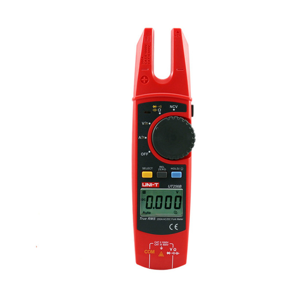 UNI-T UT256B Auto Range 200A AC/DC Current True RMS Digital Fork Type Clamp Meter with ohm Capacitance NCV Test uni t ut216a auto range multimeter mini true rms digital clamp meter w ncv capacitance ac dc voltage current tongs ohm tester