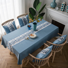 Classical Waterproof Tablecloth European Luxury Solid Color Embroidery Imitation Cotton Linen Restaurant Striped Table Cloth