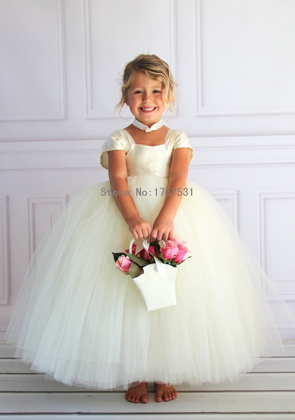 Cap Sleeve Tulle Pretty Cheap Long Flower Girl Dresses 2015 With Big